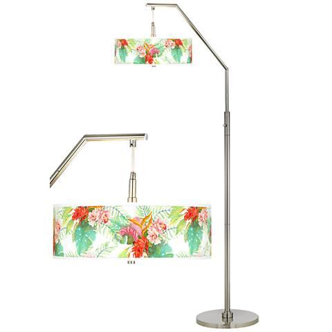 Island Floral Giclee Shade Arc Floor Lamp