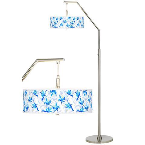 Flora Bleu Giclee Shade Arc Floor Lamp