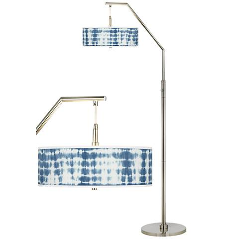 Shibori Surf Giclee Shade Arc Floor Lamp