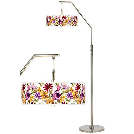 Bountiful Blooms Giclee Shade Arc Floor Lamp