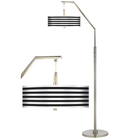 Black Horizontal Stripe Giclee Shade Arc Floor Lamp H5361 H7335 Lamps Plus