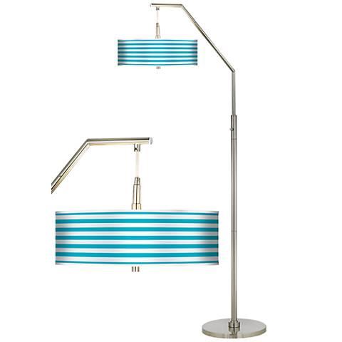 Aqua Horizontal Stripe Giclee Shade Arc Floor Lamp