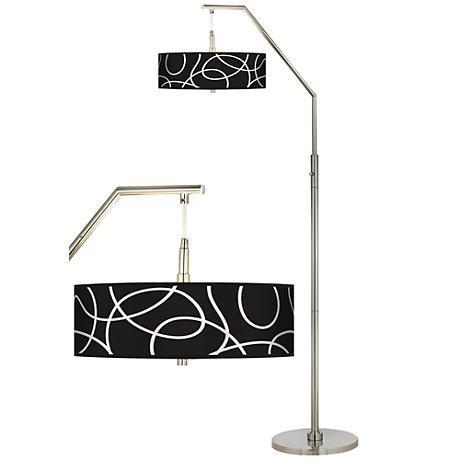 Abstract Giclee Shade Arc Floor Lamp
