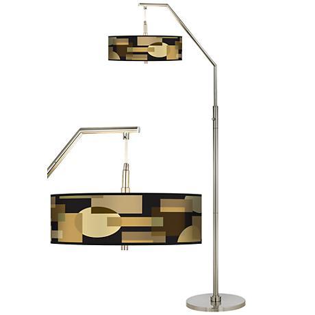 Earthy Geometric Giclee Shade Arc Floor Lamp
