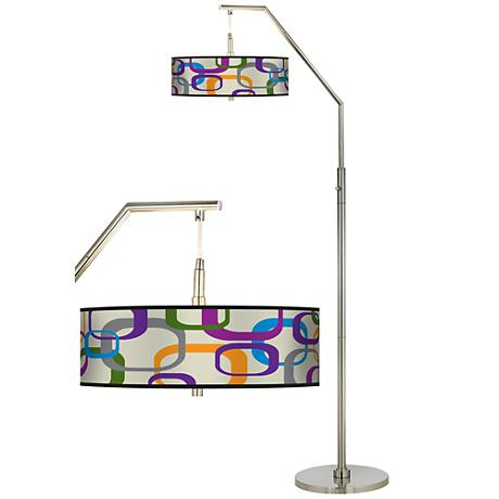 Retro Squares Scramble Giclee Shade Arc Floor Lamp