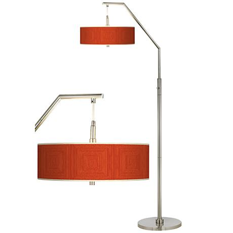 Stacy Garcia Crackled Square Coral Giclee Shade Arc Floor Lamp