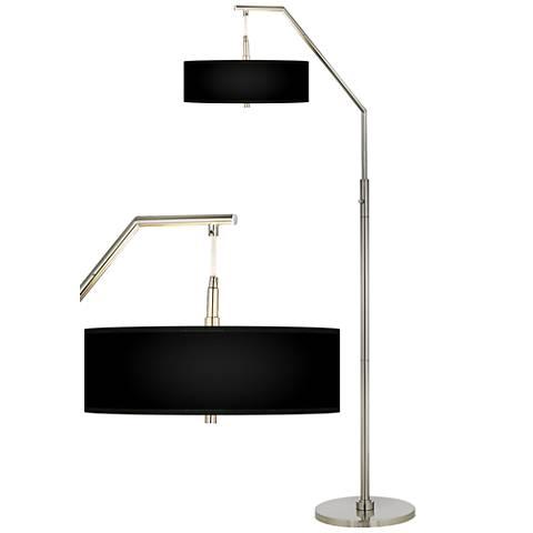 all black giclee shade arc floor lamp h5361 k2123 lamps plus. Black Bedroom Furniture Sets. Home Design Ideas