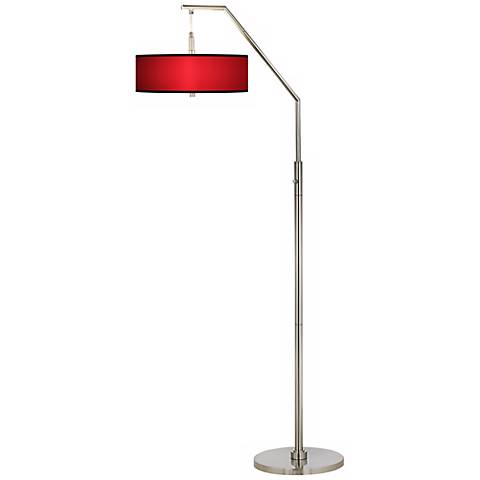 All Red Giclee Shade Arc Floor Lamp