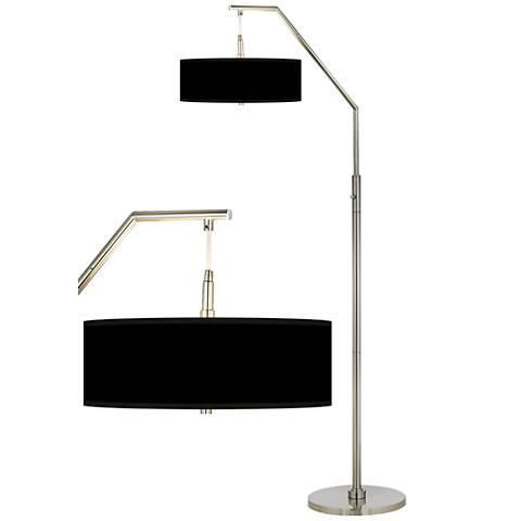 Black shade arc floor lamp h5361 m2470 lamps plus - Arc floor lamp shade ...