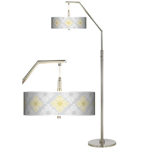 Aster Grey Giclee Shade Arc Floor Lamp