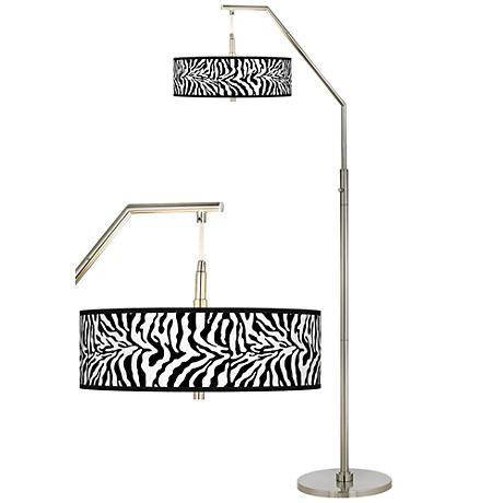Safari Zebra Giclee Shade Arc Floor Lamp