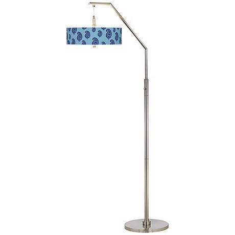 Paisley Rain Giclee Brushed Nickel Arc Floor Lamp