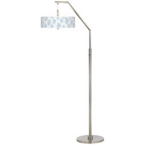 Paisley Snow Giclee Brushed Nickel Arc Floor Lamp