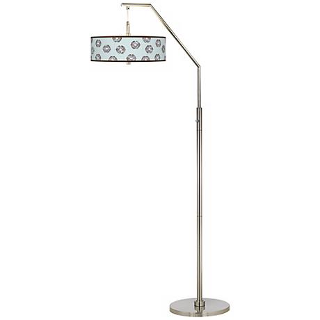 Weathered Medallion Giclee Arc Floor Lamp