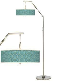 Blue Floor Lamps | Lamps Plus:Blue Calliope Linen Giclee Arc Floor Lamp,Lighting