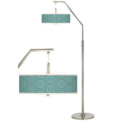 Blue Calliope Linen Giclee Arc Floor Lamp