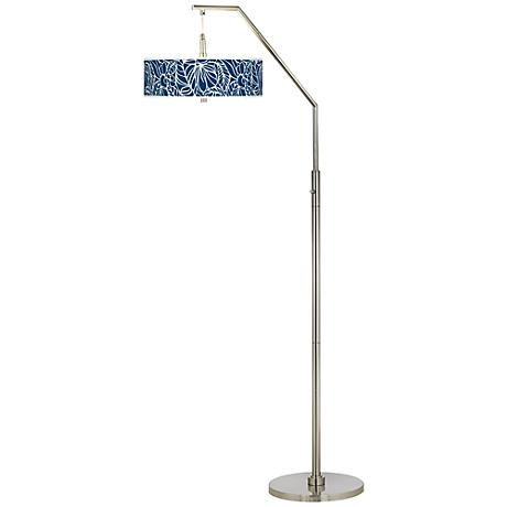 Jungle Rain Giclee Shade Arc Floor Lamp