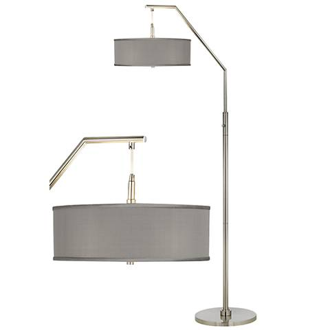 Gray Faux Silk Arc Floor Lamp