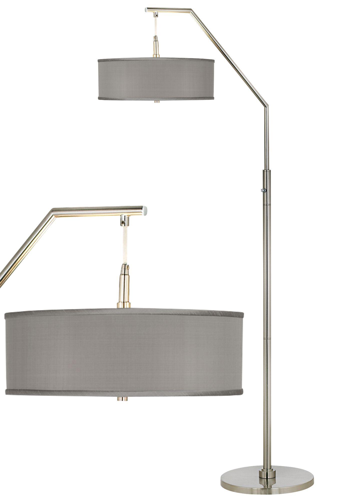 gray faux silk arc floor lamp - Silver Floor Lamp