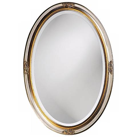 "White Gold Leaf Finish Oval 32"" High Wall Mirror"