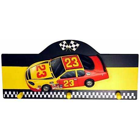 Race Car Wall Hanging Kids Coat and Hat Rack