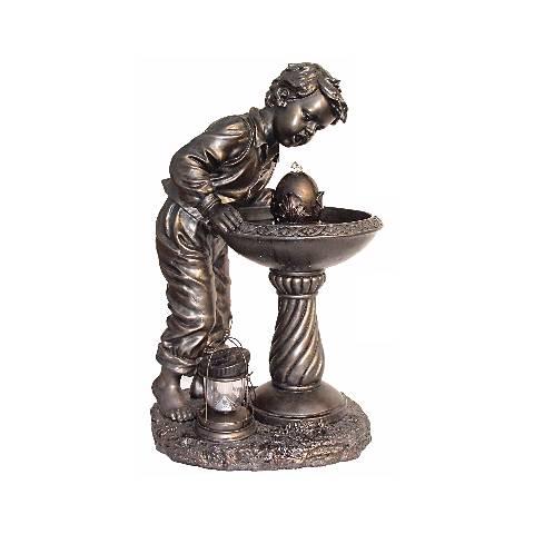 """Young Boy Antique Bronze 35"""" High Fountain"""