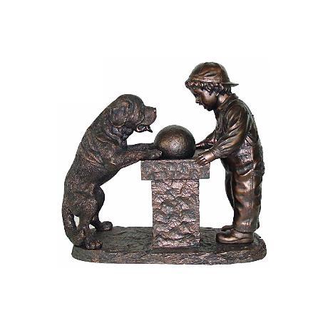 "Young Boy and St. Bernard Dog Antique Bronze 31""H Fountain"
