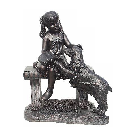 """Young Girl Sits on Bench with Dog 34 1/4"""" High Sculpture"""