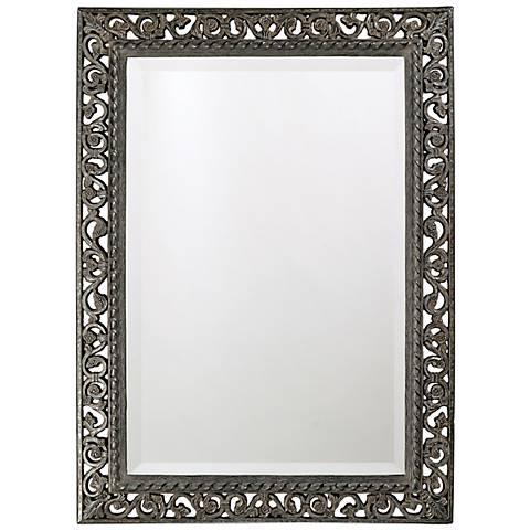 """Antique Black Finish Openwork 35"""" High Wall Mirror"""