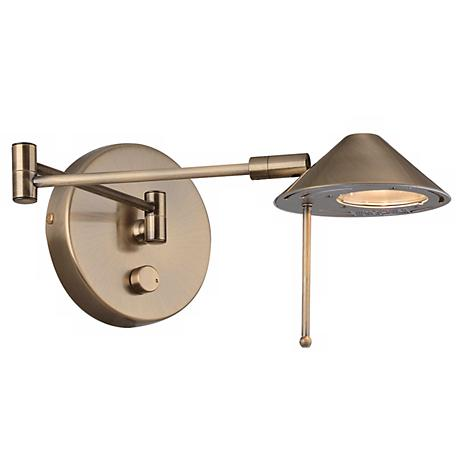 Lite Source Antique Brass Dimmable Halogen Plug-in Swing Arm