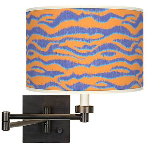 Sunset Stripes Giclee Bronze Swing Arm Wall Lamp