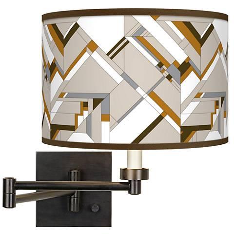 Craftsman Mosaic Giclee Bronze Swing Arm Wall Lamp