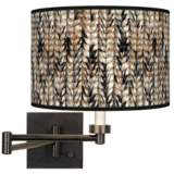 Braided Jute Giclee Bronze Swing Arm Wall Lamp