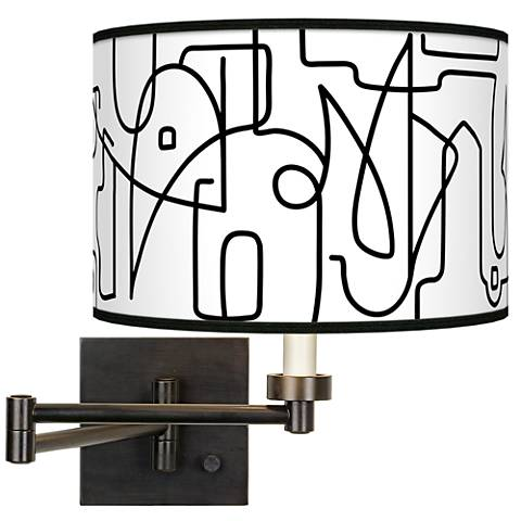 Scribble World Giclee Bronze Swing Arm Wall Lamp