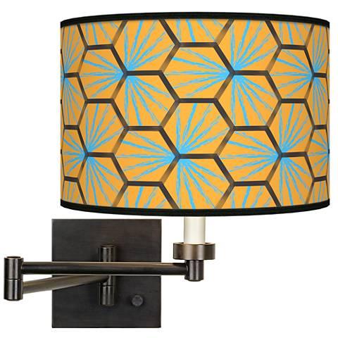 Hexagon Starburst Giclee Bronze Swing Arm Wall Lamp