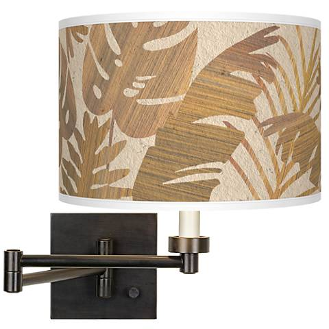 Tropical Woodwork Giclee Bronze Swing Arm Wall Lamp