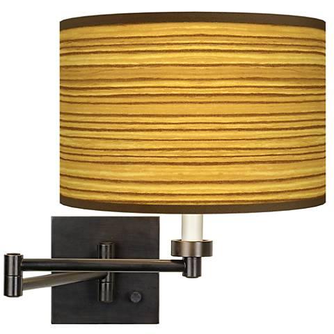 Tawny Zebrawood Giclee Bronze Swing Arm Wall Lamp