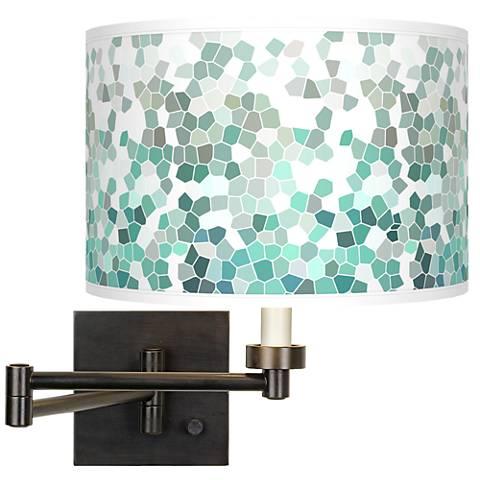 Aqua Mosaic Giclee Bronze Swing Arm Wall Light