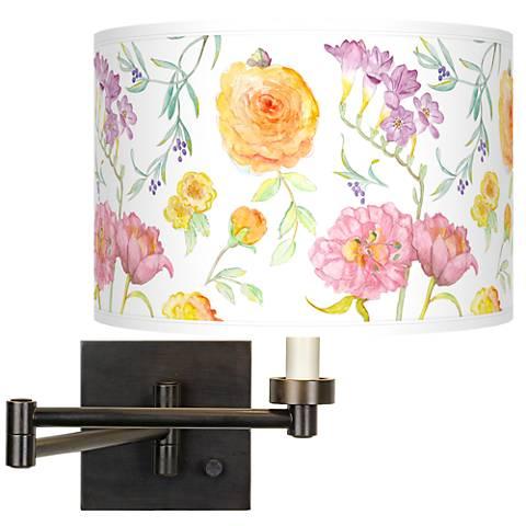 Spring Garden Giclee Bronze Swing Arm Wall Light