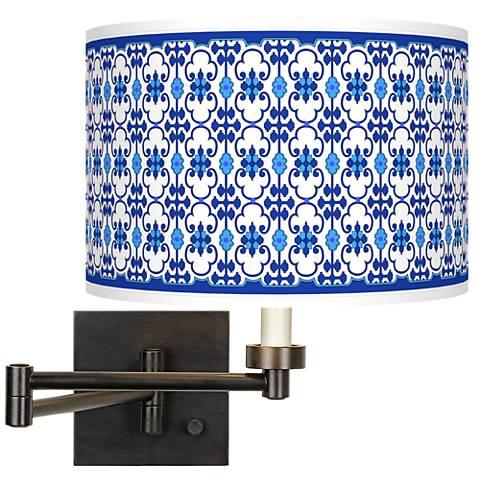 Indigo Path Giclee Bronze Swing Arm Wall Lamp