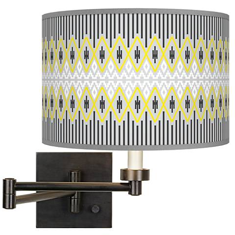 Desert Geometric Giclee Bronze Swing Arm Wall Lamp