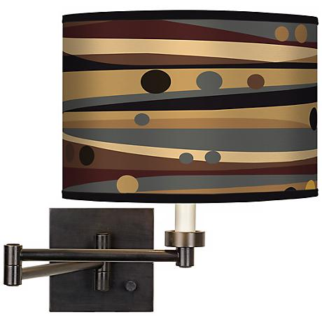 Natural Dot & Waves Giclee Bronze Swing Arm Wall Light