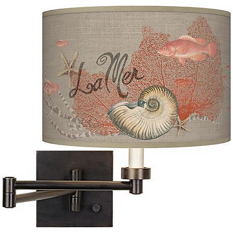 La Mer Seafan Giclee Dark Bronze Plug-In Swing Arm Wall Light