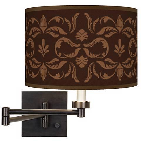 Mocha Flourish Linen Plug-In Swing Arm Wall Light