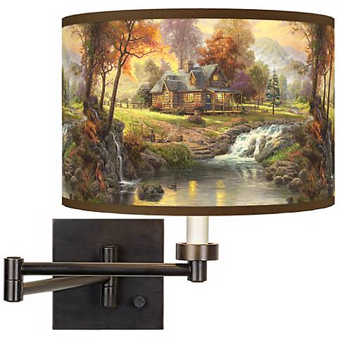 Thomas Kinkade Mountain Retreat Swing Arm Wall Light