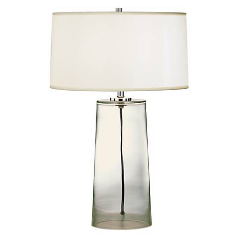 clear glass base with white shade table lamp h6943 lamps plus. Black Bedroom Furniture Sets. Home Design Ideas