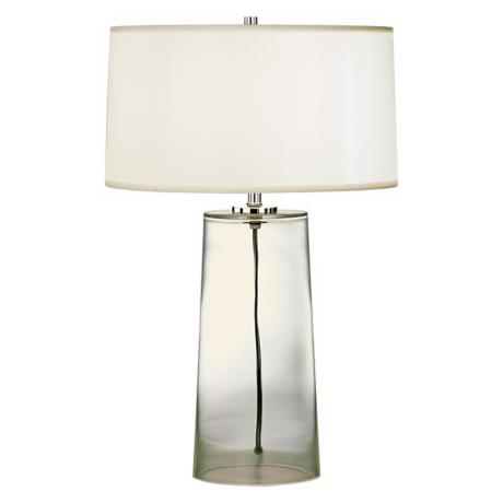 robert abbey clear glass base with white shade table lamp h6943 lamps plus. Black Bedroom Furniture Sets. Home Design Ideas