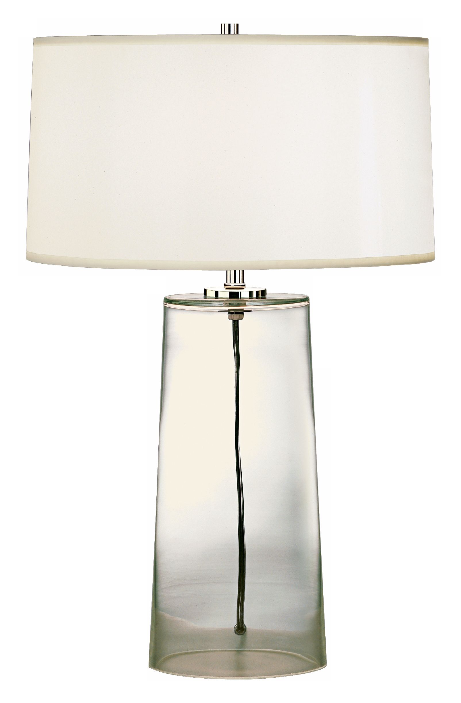 Superb Robert Abbey Clear Glass Base With White Shade Table Lamp