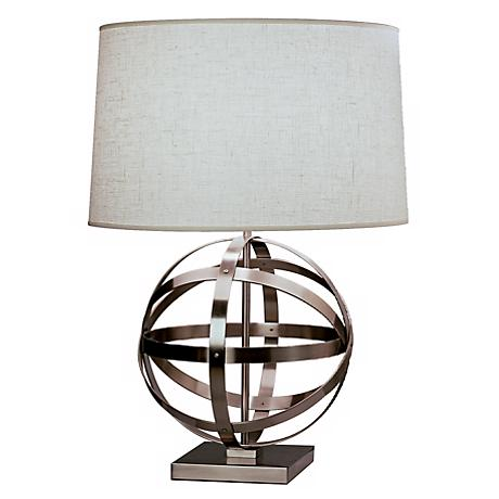 Robert Abbey Nickel with Oyster Linen Shade Accent Lamp