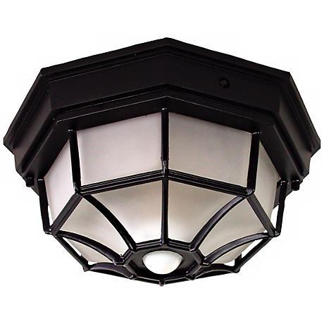 Octagonal 12 Quot Wide Black Motion Sensor Outdoor Ceiling